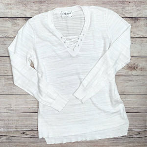 FEEL THE PIECE Criss Cross V Neck Long Sleeve Shirt Small Heather White